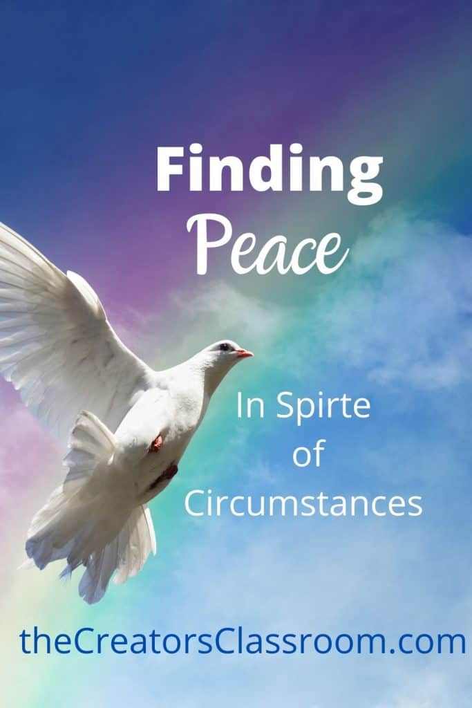 """photo of a dove, symbol of peace, and overlay of the words, """"Finding Peace in spite of circumstances."""""""