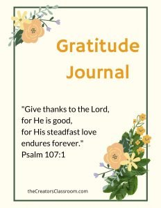 photo of the gratitude journal cover that readers can download so they can enjoy the 6 powerful health benefits of gratitude.