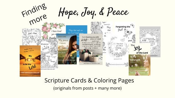 Photo of a collection of the scripture cards coloring pages that readers can download when they subscribe.