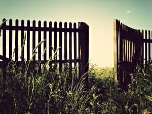 Photo of an open gate to illustrate how to rise above the past by realizing that failure opens up new beginnings.