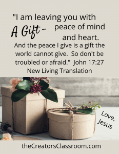 photo of a gift with text overlay reminding the reader that peace is a gift from God.