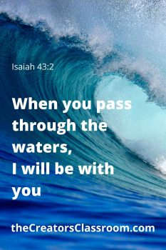 """Photo of ocean waves and test over lay that reads, """"when you pass through the waters, I will be with you"""".  Isaiah 43:2"""