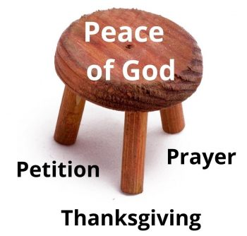 Photo of a three legged stool- representing Philippians 4:6-8, verses that help a person find peace when God's ways don't make sense.