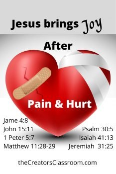 photo of a scripture card which shows the reader how to find joy after pain and hurt.