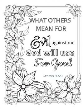 Coloring page that the reader can download, reminding them that there are reasons to forgive when we are hurting.