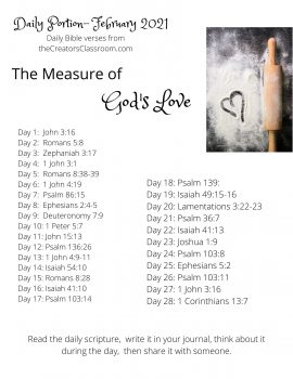 """Photo of the Daily Bible verses by category for the month of February. The category is """"The Measure of God's Love."""""""