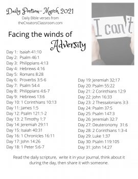 """Photo of the Daily Bible verses by category for the month of March. The category is """"Facing the winds of adversity."""""""
