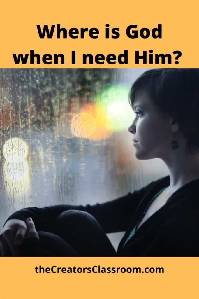 "photo with text overlay, ""Where is God when I need him?"""