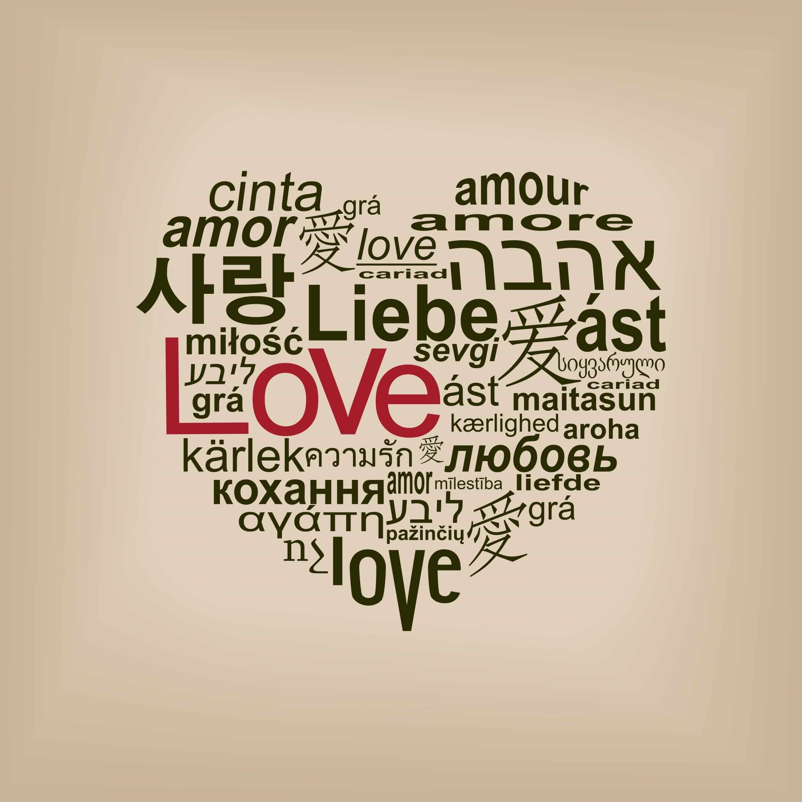 Heart shaped graphic of the word 'Love' in many different languages to illustrate God's language of love.