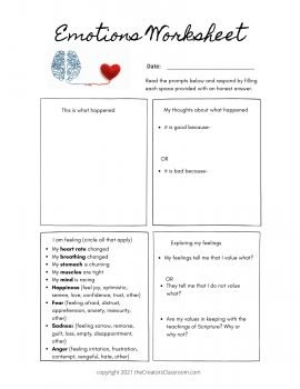 photo of the emotions worksheet