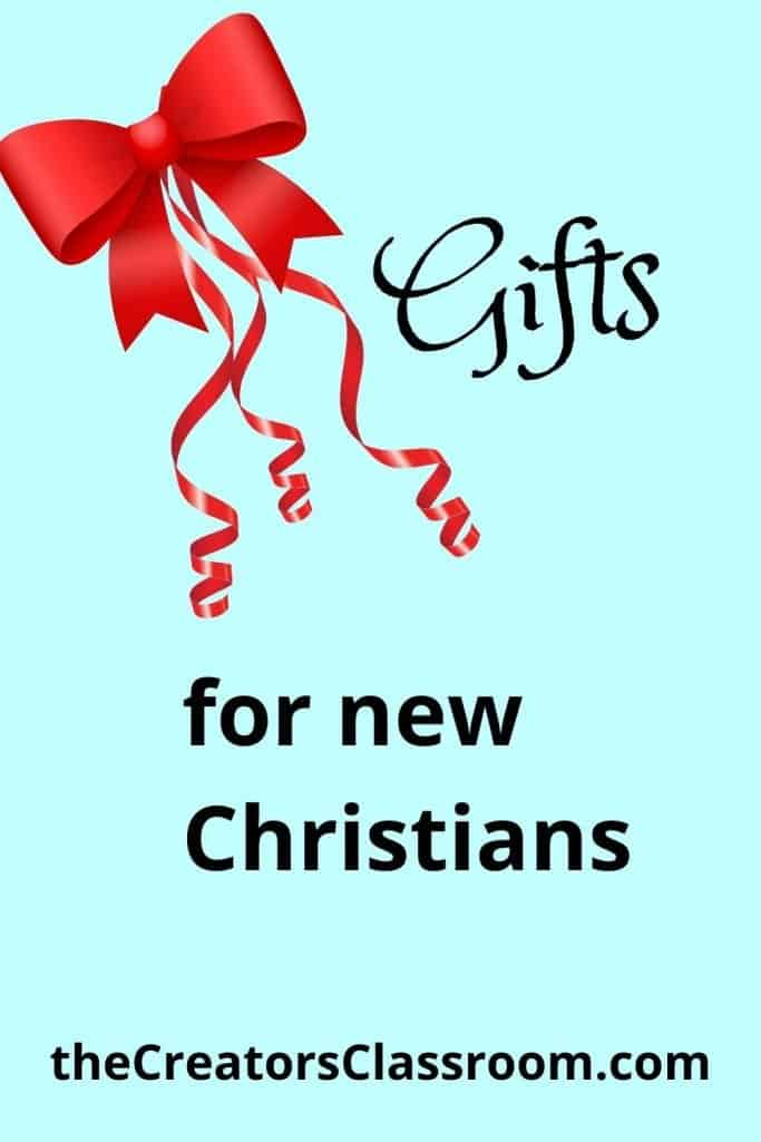 """Photo of a gift bow and text that reads, """"Gifts for new Christians""""."""