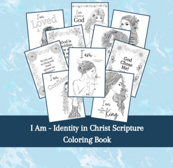 """Picture of the """"I Am"""" identity in Christ Scripture Coloring Book."""