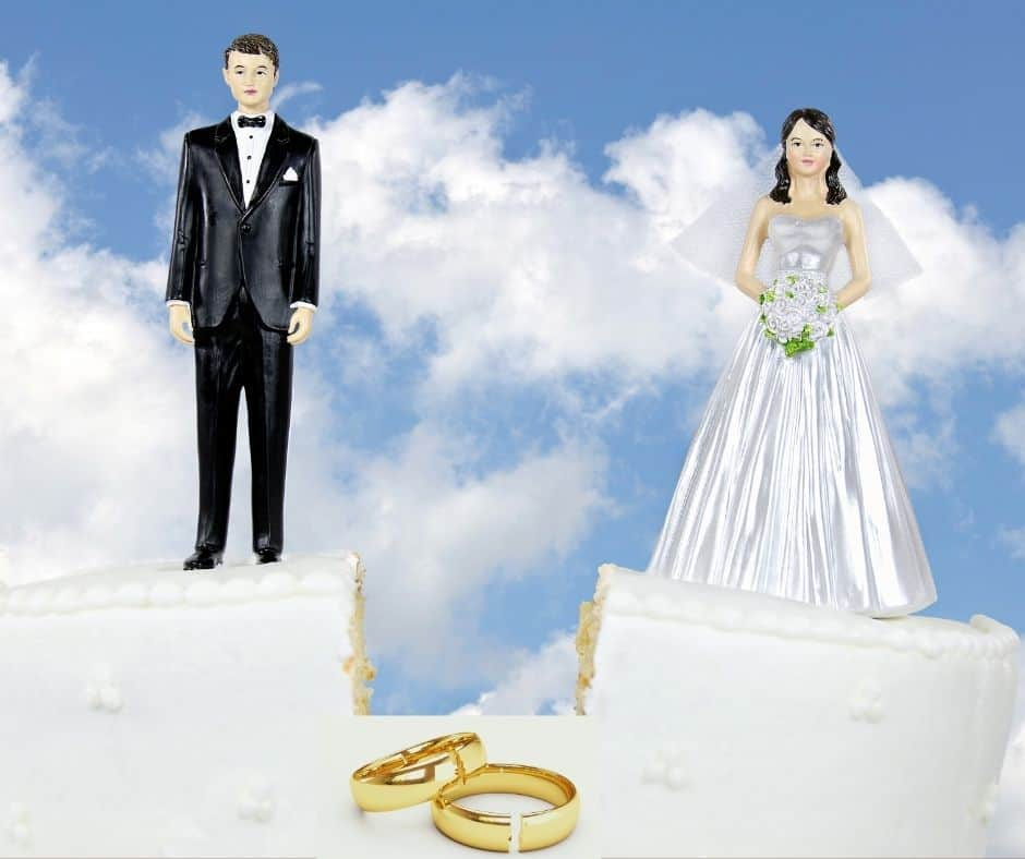 Photo of a wedding cake split in two, bride on one half and groom on the other half, and wedding rings cut in two. These represent divorce and divorce guilt.