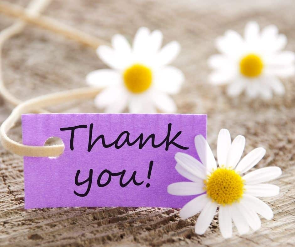 Photo of flowers and a thank you note