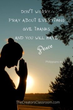 Photo of a woman praying and scripture from Philippians 4:6 which says to pray about everything.