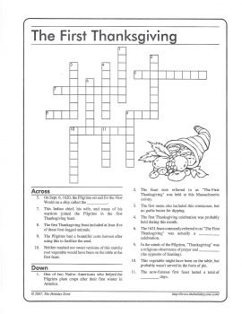 """photo of cross word puzzle """"the first thanksgiving""""."""