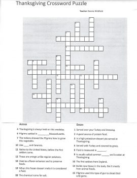Photo of the Thanksgiving crossword puzzle