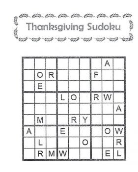 Photo of the thanksgiving Sudoku word puzzle